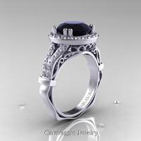 Caravaggio 14K White Gold 3.0 Ct Black and White Diamond Engagement Ring Wedding Ring R620-14KWGDBD