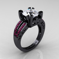 Modern Vintage 14K Black Gold 3.0 Carat White and Pink Sapphire Solitaire Ring R102-14KBGPSWS