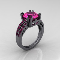 Modern Vintage 14K Gray Gold 3.0 Carat Pink Sapphire Solitaire Ring R102-14KGGPS