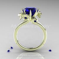 Art Masters 18K Green Gold 3.0 Ct Blue Sapphire Dragon Engagement Ring R601-18KGGBS