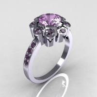Modern Edwardian 10 Karat White Gold 1.0 CT Round Lilac Amethyst Engagement Ring R80-10KWLA-1