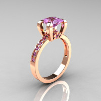 Classic French 10K Pink Gold 1.0 Carat Princess Lilac Amethyst Solitaire Engagement Ring AR125-10PGLAA-1