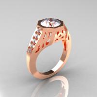 Modern Edwardian 10K Rose Gold 1.5 Carat Zirconia Diamond Engagement Ring R155-10KRGCZ-1