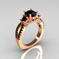 Modern French Bridal 14K Rose Gold Three Stone 1.0 Carat Black Diamond Engagement Ring R140-14RGBDD-1