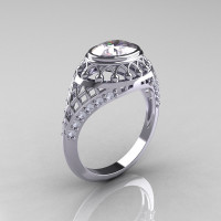 Modern Victorian 10K White Gold 1.16 Carat Oval White Sapphire 0.24 CTW Diamond Bridal Ring R158-10KWGDWS-1