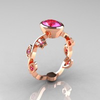 Classic 10K Rose Gold 1.0 Carat Oval Pink Sapphire Flower Leaf Engagement Ring R159O-10KRGPS-1