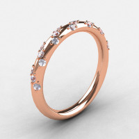 French Bridal 10K Rose Gold Diamond Wedding Band R185B-10KRGD-1