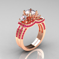 French 14K Rose Gold Three Stone Pink and White Sapphire Wedding Ring Engagement Ring Bridal Set R182S-14KRGPWS-1