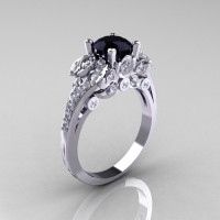 Classic 10K White Gold 1.0 CT Black and White Diamond Solitaire Wedding Ring R203-10KWGDBD-1
