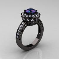 14K Black Gold 1.0 Carat Russian Alexandrite Diamond Wedding Ring Engagement Ring R199-14KBGDA-1
