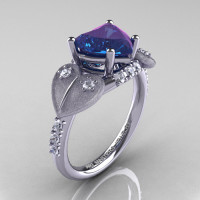 Classic Hearts 14K White Gold 2.0 Ct Chrysoberyl Alexandrite Diamond Engagement Ring Y445S-14KWGDAL-1