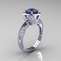 Classic French 14K White Gold 1.0 Carat Chrysoberyl Alexandrite Diamond Engagement Ring Wedding RIng R502-14KWGDA-1