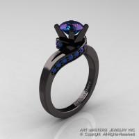 Classic 14K Black Gold 1.0 Ct Chrysoberyl Alexandrite Designer Solitaire Ring R259-14KBGAL-1