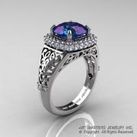 High Fashion 14K White Gold 3.0 Ct Color Change Alexandrite Diamond Designer Wedding Ring R407-14KWGDAL-1