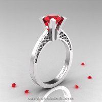 Modern Armenian 14K White Gold Lace 1.0 Ct Ruby Solitaire Engagement Ring R308-14KWGR-1