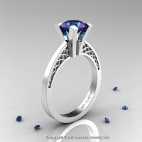 Modern Armenian 14K White Gold Lace 1.0 Ct Alexandrite Solitaire Engagement Ring R308-14KWGAL-1
