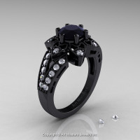 Art Deco 14K Black Gold 1.0 Ct Black and White Diamond Wedding Ring Engagement Ring R286-14KBGDBD-1