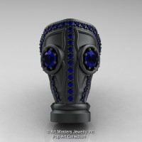 Art Masters Avant Garde Mens 14K Matte Black Gold 2.0 Ct Blue Sapphire Gas Mask Ring R184M-14KMBGBS-1