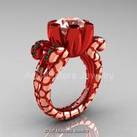Art Masters Santa Isabel 14K Red Rose Gold 3.0 Ct Morganite Emerald Solitaire Ring R297-14KRRGMOEM-1