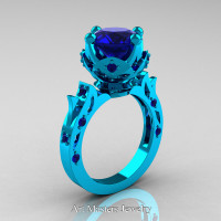 Modern Antique 14K Turquoise Gold 3.0 Carat Blue Sapphire Solitaire Wedding Ring R214-14KTGBS - Perspective