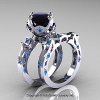 Modern Antique 14K White Gold 3.0 Carat Black Diamond Blue Topaz Solitaire Wedding Ring Set R214S-14KWGBTBD - Perspective