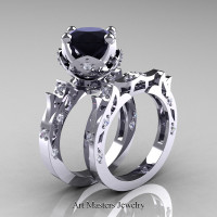 Modern Antique 14K White Gold 3.0 Carat Black and White Diamond Solitaire Wedding Ring Set R214S-14KWGDBD - Perspective