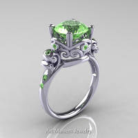 Modern Vintage 14K White Gold 2.5 Carat Blue Topaz Wedding Engagement Ring R167-14KWGBT - Perspective