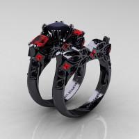 Designer Classic 14K Black Gold Three Stone Princess Black Diamond Rubies Engagement Ring Wedding Band Set R500S-14KBGRBD - Perspective