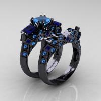 Designer Classic 14K Black Gold Three Stone Princess Blue Topaz Blue Sapphire Engagement Ring Wedding Band Set R500S-14KBGBSBT - Perspective