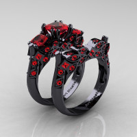 Designer Classic 14K Black Gold Three Stone Princess Rubies Engagement Ring Wedding Band Set R500S-14KBGR - Perspective