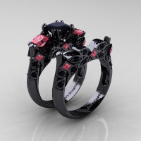 Designer Classic 14K Black Gold Three Stone Princess Black Diamond Tourmaline Engagement Ring Wedding Band Set R500S-14KBGTBD - Perspective