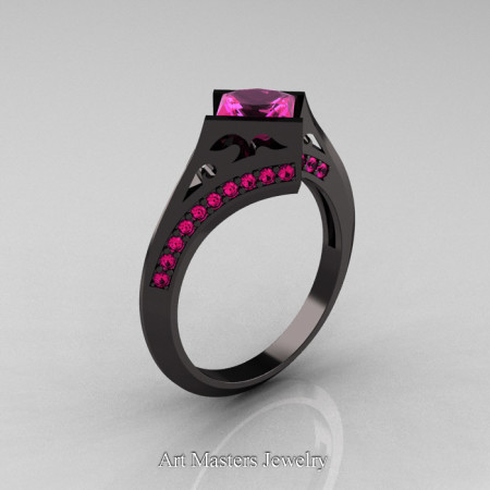 Exclusive French 14K Black Gold 1.5 CT Princess Pink Sapphire Engagement Ring R176-14KBGPS