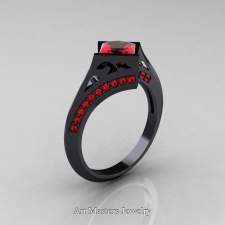 Exclusive French 14K Black Gold 1.5 CT Princess Rubies Engagement Ring R176-14KBGR