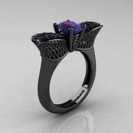Nature Inspired 14K Black Gold 1.0 Ct Oval Chrysoberyl Alexandrite Black Diamond Bee Wedding Ring R531-14KBGBDAL