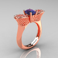 Nature Inspired 14K Rose Gold 1.0 Ct Oval Chrysoberyl Alexandrite Diamond Bee Wedding Ring R531-14KRGDAL Perspective