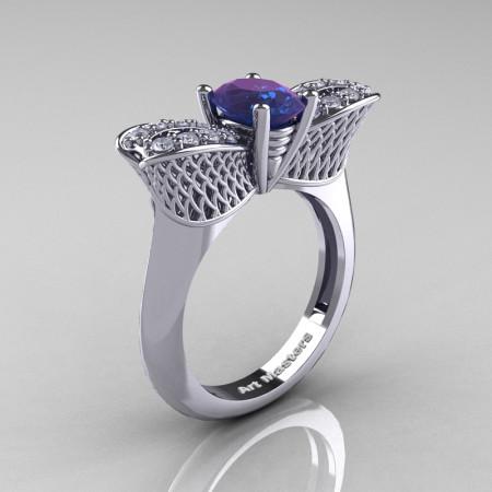 Nature Inspired 14K White Gold 1.0 Ct Oval Chrysoberyl Alexandrite Diamond Bee Wedding Ring R531-14KWGDAL