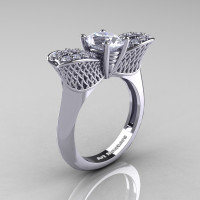 Nature Inspired 14K White Gold 1.0 Ct Oval White Sapphire Diamond Bee Wedding Ring R531-14KWGDWS Perspective