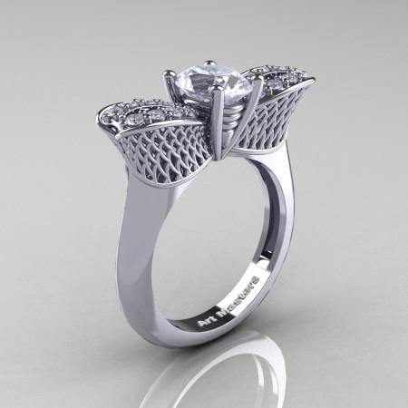 Nature Inspired 14K White Gold 1.0 Ct Oval White Sapphire Diamond Bee Wedding Ring R531-14KWGDWS