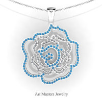 Classic 14K White Gold Blue Topaz Diamond Rose Promise Pendant and Necklace Chain P101M-14KWGDBT