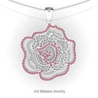 Classic 14K White Gold Tourmaline Diamond Rose Promise Pendant and Necklace Chain P101M-14KWGDTO