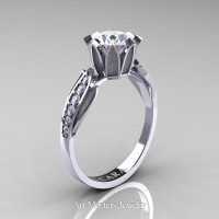 Cara 14K White Gold 1.0 Ct White Cubic Zirconia Diamond Solitaire Ring R423-14KWGDCZ