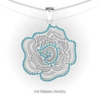 Classic 14K White Gold Blue and White Diamond Rose Promise Pendant and Necklace Chain P101M-14KWGDBLD