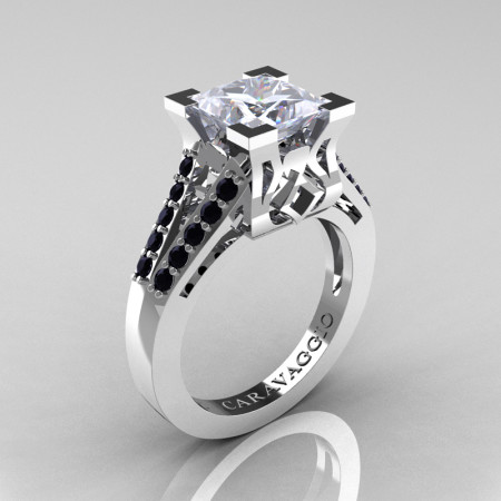 Caravaggio Classic 14K White Gold 2.0 Ct Princess White Sapphire Black Diamond Cathedral Engagement Ring R488-14KWGBDWS
