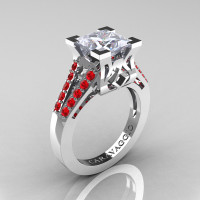 Caravaggio Classic 14K White Gold 2.0 Ct Princess White Sapphire Ruby Cathedral Engagement Ring R488-14KWGRWS