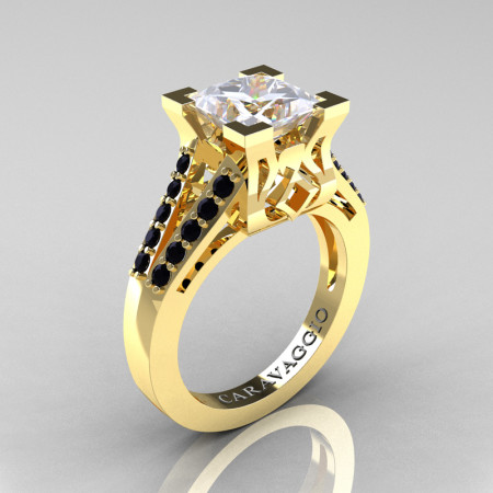 Caravaggio Classic 14K Yellow Gold 2.0 Ct Princess White Sapphire Black Diamond Cathedral Engagement Ring R488-14KYGBDWS