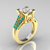 Caravaggio Classic 14K Yellow Gold 2.0 Ct Princess White Sapphire Blue Zircon Cathedral Engagement Ring R488-14KYGBZWS