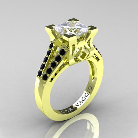 Caravaggio-Classic-18K-Green-Gold-2-Carat-Princess-White-Sapphire-Black-Diamond-Cathedral-Engagement-Ring-R488-18KGGBDWS-P