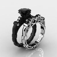 Art Masters Caravaggio 14K Black and White Gold 1.25 Ct Princess Black and White Diamond Engagement Ring Wedding Band Set R623PS-14KBWGDBD