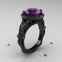 Caravaggio 14K Black Gold 3.0 Ct Amethyst Emerald Engagement Ring Wedding Ring R620-14KBGEAM