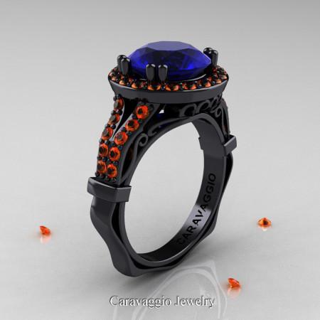 Caravaggio 14K Black Gold 3.0 Ct Blue and Orange Sapphire Engagement Ring Wedding Ring R620-14KBGOSBS